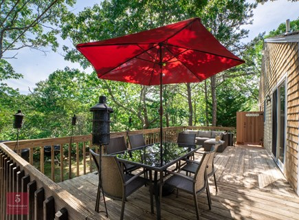 Edgartown Martha's Vineyard vacation rental - Outdoor deck with patio table and umbrella