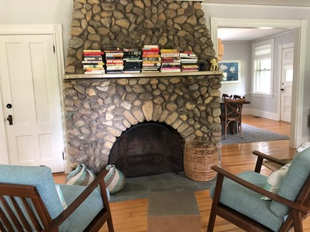 Vineyard Haven Martha's Vineyard vacation rental - Original stone fireplace in the living room