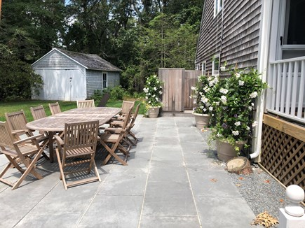 Vineyard Haven Martha's Vineyard vacation rental - One of two outdoor dining areas that has a BBQ area.