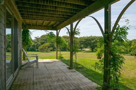Aquinnah Martha's Vineyard vacation rental - Main house patio outside ground floor bedrooms