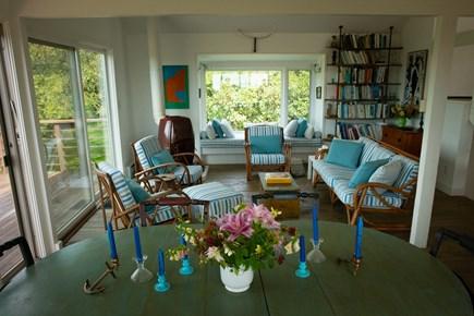 Aquinnah Martha's Vineyard vacation rental - Main house table and living room area