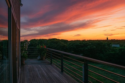 Aquinnah Martha's Vineyard vacation rental - Sunset from the deck with view of Gay Head Lighthouse