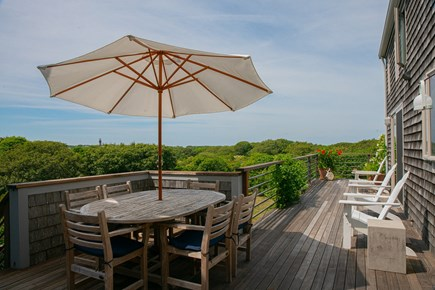 Aquinnah Martha's Vineyard vacation rental - Dining and seating area on deck