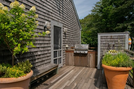 Aquinnah Martha's Vineyard vacation rental - Grill and outdoor sink with back of outdoor shower