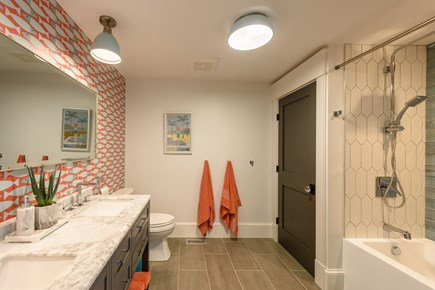 Katama - Edgartown Martha's Vineyard vacation rental - Kids' hallway bathroom across from bunk/playroom.