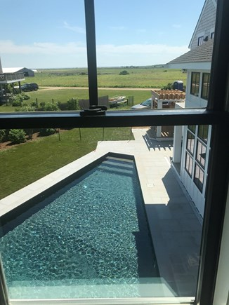 Katama - Edgartown Martha's Vineyard vacation rental - View of pool from second floor master bedroom.