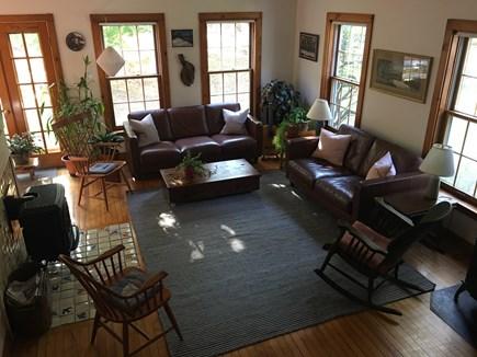 Chilmark Martha's Vineyard vacation rental - Living room with piano, wraparound views of woods & stone walls