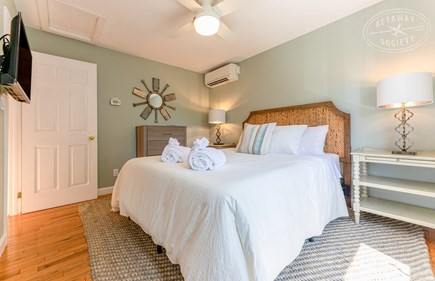 Oak Bluffs Martha's Vineyard vacation rental - Queen bedroom with new furniture, Samsung SmartTV, and AC