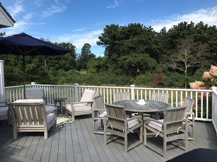 Edgartown Martha's Vineyard vacation rental - Deck w/ cushioned teak furniture, Weber Grill and meadow views.