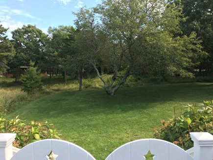 Edgartown Martha's Vineyard vacation rental - View from deck of expansive yard, ideal for yard games.