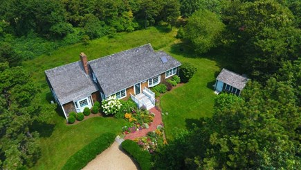 Edgartown Martha's Vineyard vacation rental - Aerial view of home and property, in private setting.
