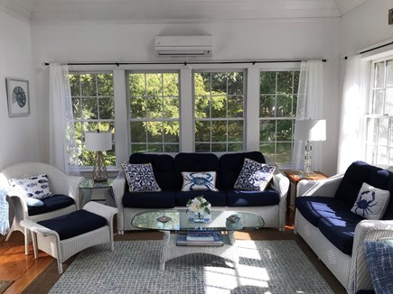 Edgartown Martha's Vineyard vacation rental - Bright sunroom with cathedral ceiling and flat screen TV.