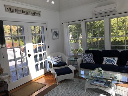 Edgartown Martha's Vineyard vacation rental - French Doors off sunroom to spacious deck.