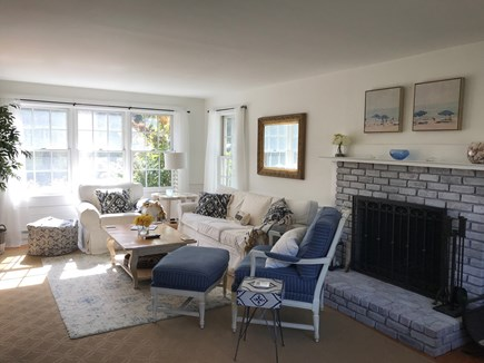 Edgartown Martha's Vineyard vacation rental - Sunny yet cozy living room with fireplace and flat screen TV.