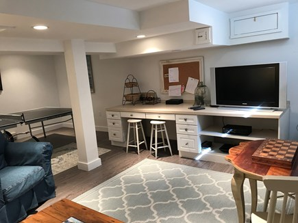 Edgartown Martha's Vineyard vacation rental - Finished basement with built-ins and flat screen TV/DVD