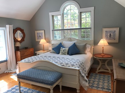 Edgartown Martha's Vineyard vacation rental - Master King bedroom with, bay window, and cathedral ceiling