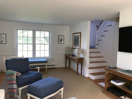 Edgartown Martha's Vineyard vacation rental - Stairway to second floor and hallway to bathroom and basement.