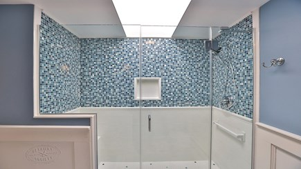 Oak Bluffs Martha's Vineyard vacation rental - Master bathroom mosaic-tiled shower