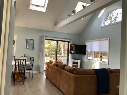 Oak Bluffs Martha's Vineyard vacation rental - Living room with lofty cathedral ceiling and skylights .