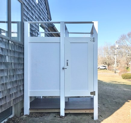 Oak Bluffs Martha's Vineyard vacation rental - Beautiful new spacious outdoor shower with dressing area.