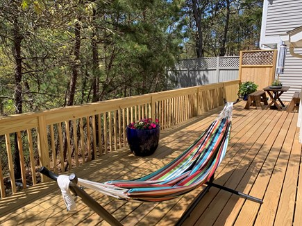 Vineyard Haven, Tisbury Martha's Vineyard vacation rental - Deck with table, benches and double hammock