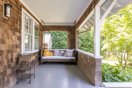 Downtown Edgartown Martha's Vineyard vacation rental - Covered porch with 2 porch swings.
