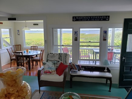 Edgartown, Sengekontacket Pond Waterfront Martha's Vineyard vacation rental - Sitting area looking out to porch