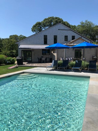 Edgartown Martha's Vineyard vacation rental - Heated in ground pool with shaded patio and deck area