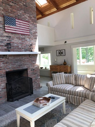 Edgartown Martha's Vineyard vacation rental - Living room with Gas Fireplace and Cathedral Ceiling