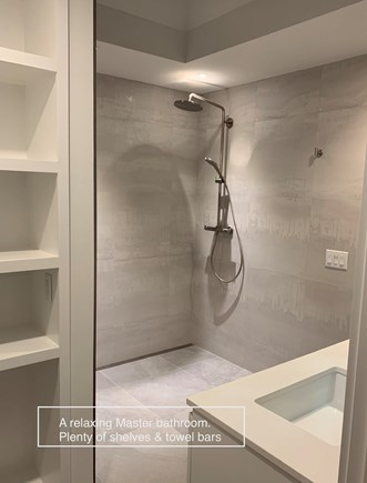 Edgartown, Ocean Heights Martha's Vineyard vacation rental - A relaxing master bathroom with plenty of shelves & TOWEL BARS!