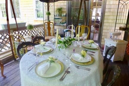 Oak Bluffs Martha's Vineyard vacation rental - Dining area on the back porch under a gazebo