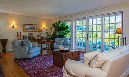 West Tisbury Martha's Vineyard vacation rental - Sliding doors out to the backyard deck and furniture.