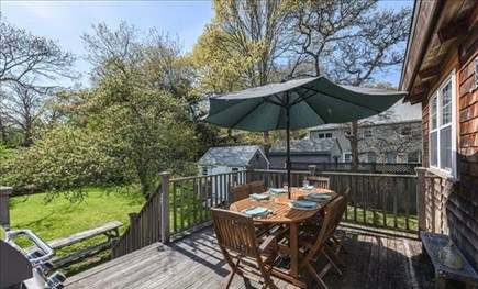 Vineyard Haven, Off Main Street Martha's Vineyard vacation rental - Nice Size Deck with a Safety Gate, Teakwood Table, & Grill