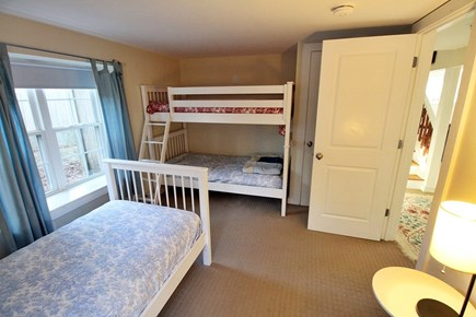 Vineyard Haven, Off Main Street Martha's Vineyard vacation rental - Downstairs Bedroom with Bunk Beds & Twin for the kids.