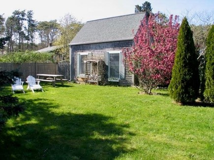 Edgartown Martha's Vineyard vacation rental - Side view of cottage with flower window boxes and small garden!!