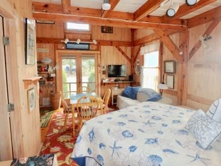 Edgartown Martha's Vineyard vacation rental - Queen bed facing double front glass door!