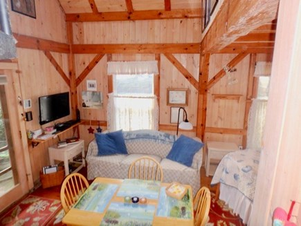 Edgartown Martha's Vineyard vacation rental - Looking from kitchenette to front of cottage with flat screen TV!