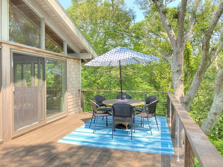 West Tisbury Martha's Vineyard vacation rental - New mahogany deck/two full sliders out to deck from living area.