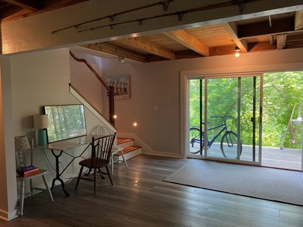 West Tisbury Martha's Vineyard vacation rental - Downstairs sitting area new floor in 2020, desk and cozy TV area