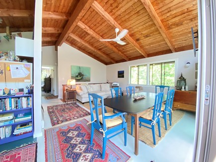 West Tisbury Martha's Vineyard vacation rental - Kitchen to left, open seating/dining, vintage stereo w turntable.