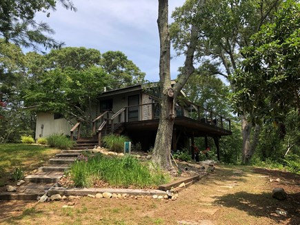 West Tisbury Martha's Vineyard vacation rental - View of house from driveway; house on knoll, on 1.5 acre parcel