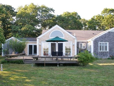 West Tisbury Martha's Vineyard vacation rental - View from the back deck of the spacious well groomed yard