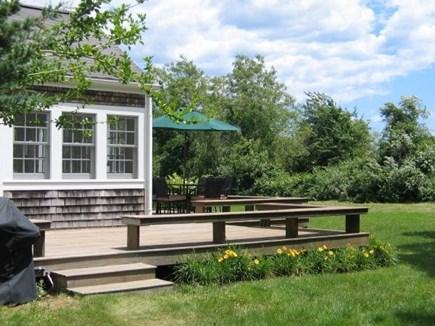 West Tisbury Martha's Vineyard vacation rental - Side deck off of large sun room