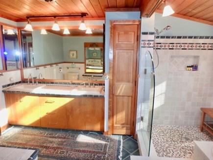 West Tisbury Martha's Vineyard vacation rental - Master bath with tub and walk in shower.