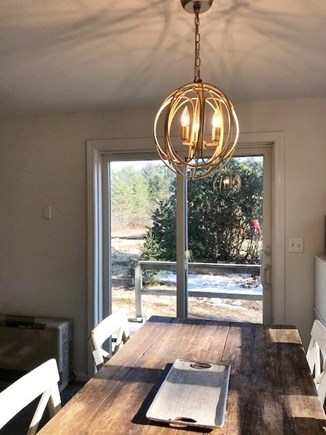 West Tisbury Martha's Vineyard vacation rental - Dining room view to back yard deck.