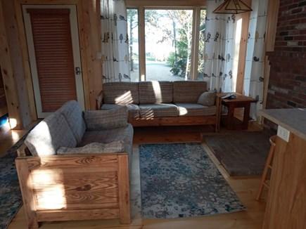 Katama - Edgartown, Edgartown Estates Martha's Vineyard vacation rental - Welcome to living room.If you like birds you'll like the curtains