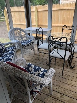 Oak Bluffs, Walk to town- quiet location Martha's Vineyard vacation rental - FAB 3 season porch w/ wicker furniture plus additional dining