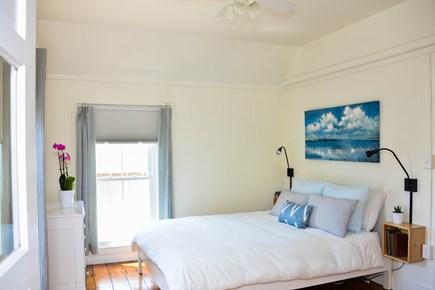 Oak Bluffs, Narragansett Cottage Martha's Vineyard vacation rental - Bedroom 4 (2nd floor): 1 Q, ceiling fan, private balcony