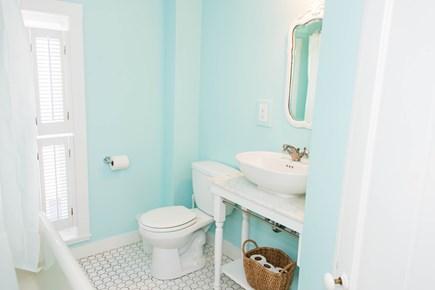 Oak Bluffs, Narragansett Cottage Martha's Vineyard vacation rental - 2nd floor bathroom (clawfoot tub w/ shower)