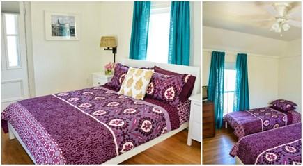 Oak Bluffs, Narragansett Cottage Martha's Vineyard vacation rental - Bedroom 3 (2nd floor): 1Q & 1T,  ceiling fan, TV, private balcony